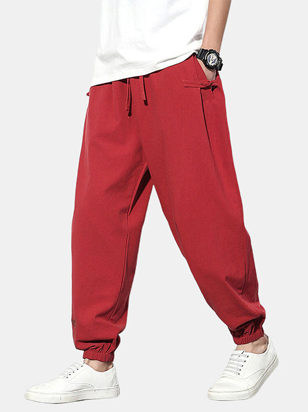 Mens Casual Chinese Style Linen Embroidery Drawstring Waist Pants