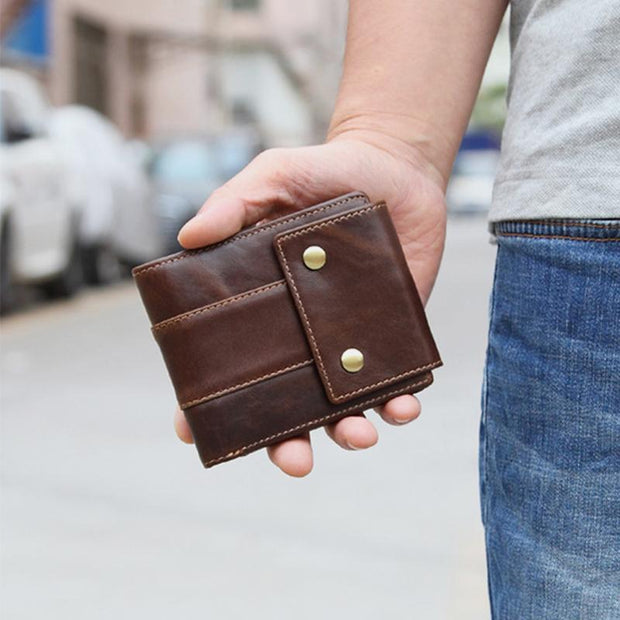 Real Leather Multi-slot Buckle Retro Wallet