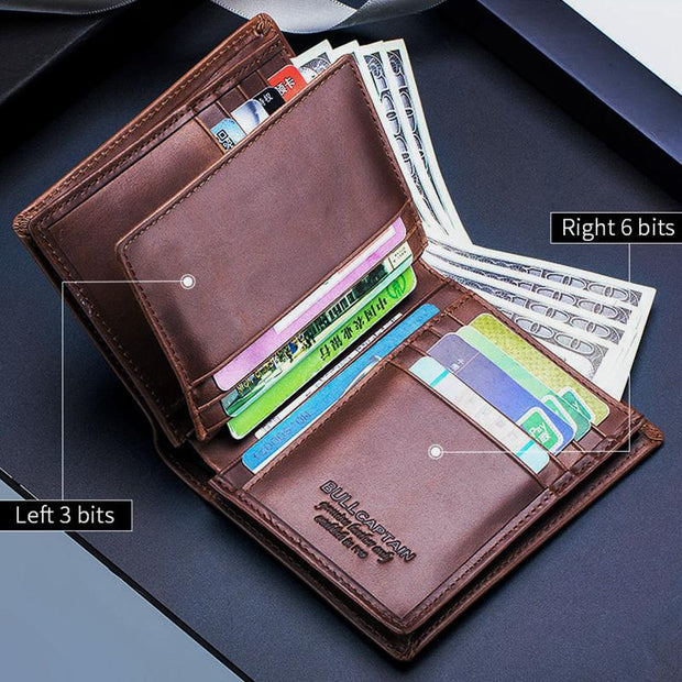 Anti-Theft RFID Protected Multi-Slot Real Leather Wallet