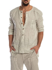 Men's solid color stitching shirts
