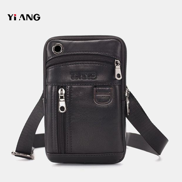 Men Genuine Leather Phone Bag Solid Bum Bag