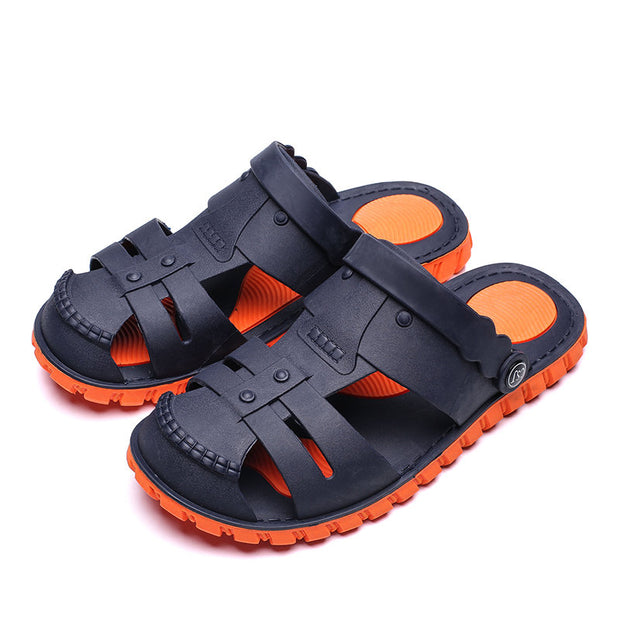 Men's Closed Toe Hole Slip On Water Casual Beach Sandals