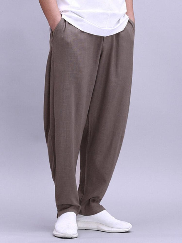 Mens 100% Cotton Lightweight Breathable Wide Leg Loose Yoga Casual Pants