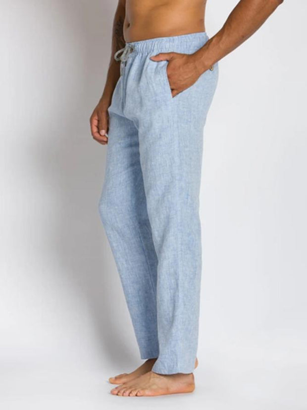 Men's Blue Casual Cotton Pants