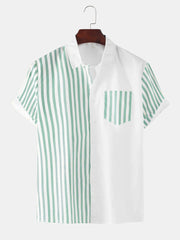 Mens Striped Patchwork Chest Pocket Short Sleeve Shirt