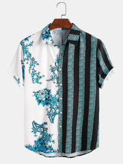 Men 100% Cotton Floral & Striped Patchwork Holiday Casual Shirt