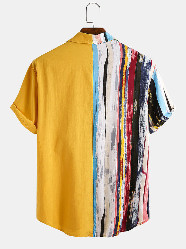 Men 100% Cotton Color Stripe Patchwork Holiday Casual Curved Hem Shirt