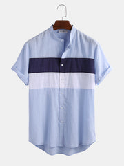 Mens 100% Cotton Light Breathable Color Block Patchwork Short Sleeve Shirt