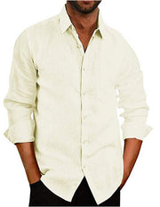 Men's fashion casual long-sleeved shirt solid color cotton shirt