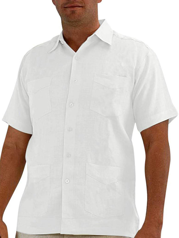 Men's multi-pocket cardigan short-sleeved shirt