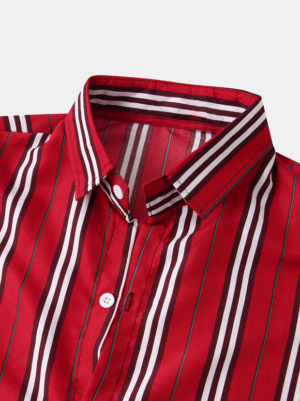 Mens Classic Striped Short Sleeve Casual Loose Turn Down Collar Shirts