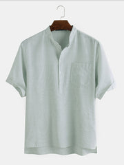 Mens Cotton Solid Color Pinstripe Stand Collar Casual Short Sleeve Henley Shirt