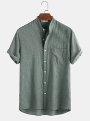 Mans 100% Cotton Stripe Patchwork Stand Collar Casual Short Sleeve Shirt