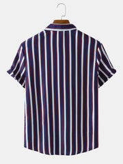 Mens Colored Stripe Printed Casual Short Sleeve Designer Shirts