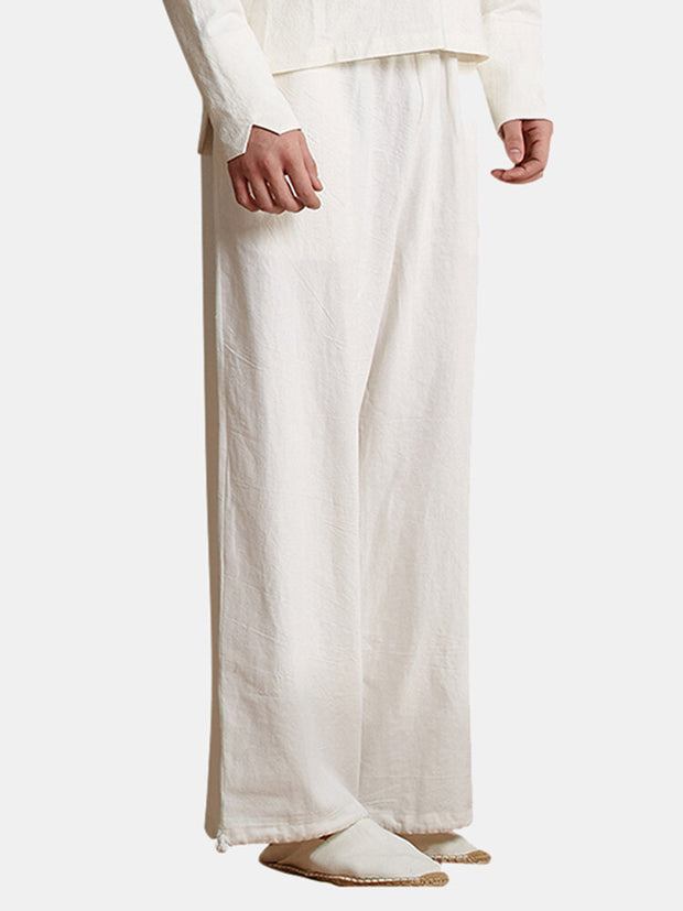 Mens Baggy Brief Pure Color Casual Elastic Waist Wide Leg Thin Straight Pants
