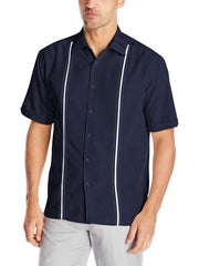 Men's Chambray Pintuck Geometric Short Sleeve Button-Down Shirt