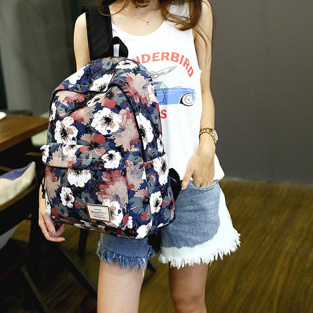 Waterproof Large Capacity Floral Laptop School Backpack