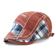 Mens Vintage Letter Embroidery Cotton Beret Hat Outdoor Sunshade Forward Cap Adjustable