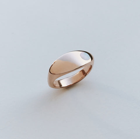 10k Rose Gold Margaux Ring with Large Pearl Size 6.5