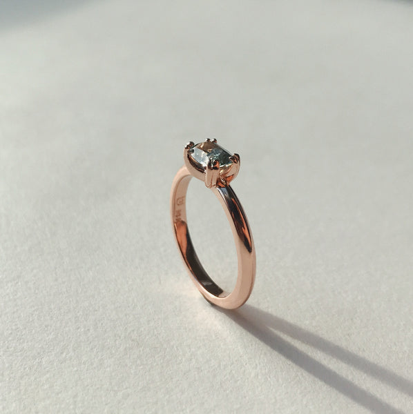 14k Rose Gold Solitaire with Montana Sapphire