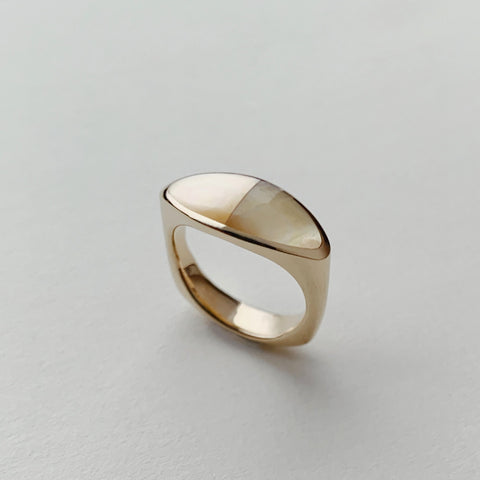 Pilar Ring in Golden Mother of Pearl