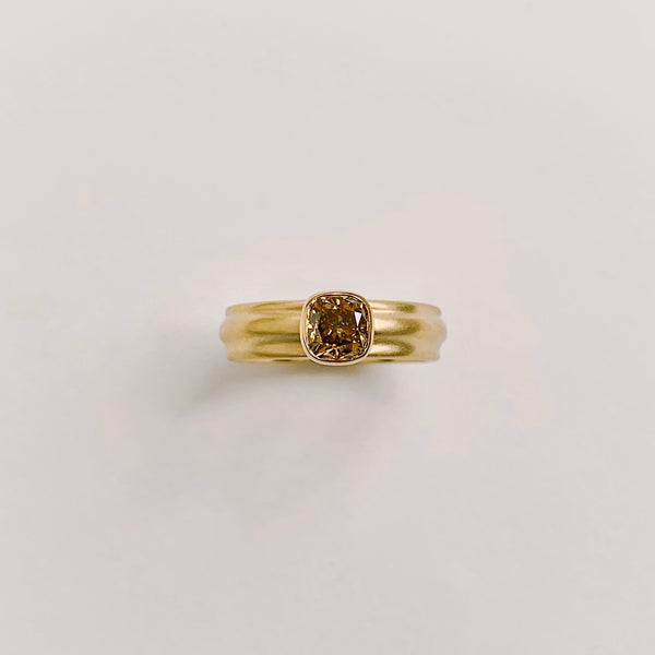 18k Royal, Wide Column Solitaire, with Fancy Deep Brown .79ct Argyle Diamond