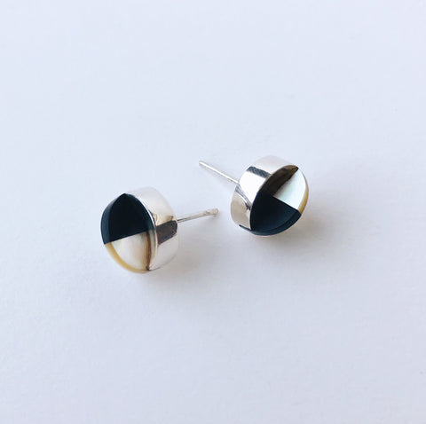 Aten Studs Golden Mother of Pearl & Onyx