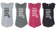 GB-Cycle.Barre.Yoga.Repeat.Cap Sleeve Tee