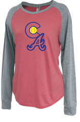 Colorado Aces Ladies Raglan Crew - CA logo