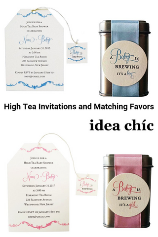 High Tea Party Invitations and Matching Favors | A Baby is Brewing
