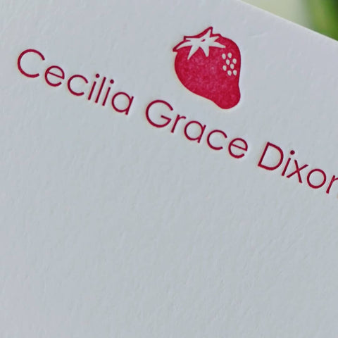 Personalized Letterpress Stationery | Red Strawberry Gift from Mother to Daughter