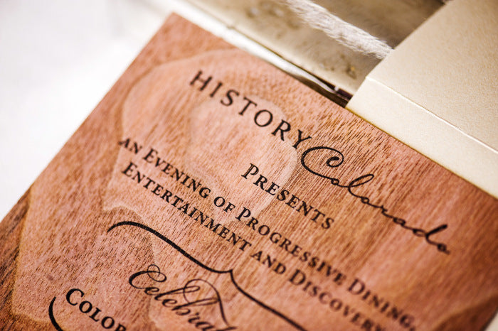 Wood Veneer Invitations for History Colorado Center Opening