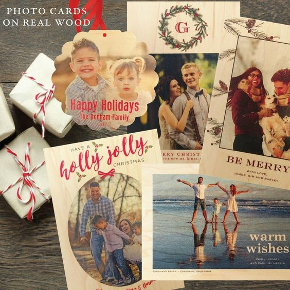 Your photos printed on real wood veneer greeting cards.