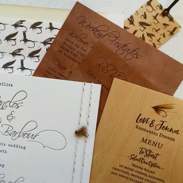 Amazing Fly Fishing Theme Wedding Invitation Suite Letterpress Printed