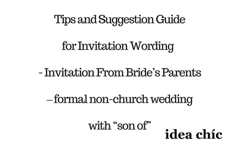 "Invitation by Bride's Parents – formal non-church wedding with ""son of"""