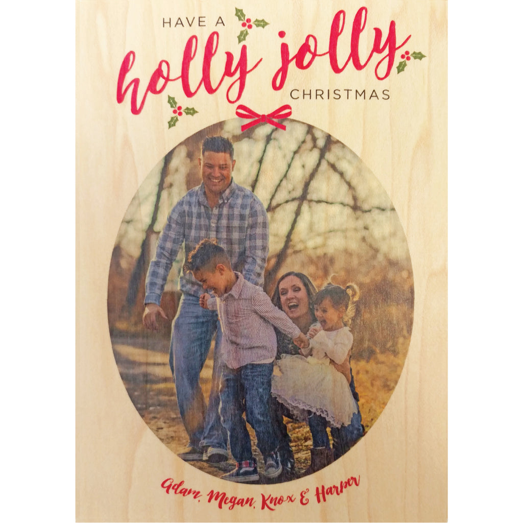 Holly Jolly Photo Christmas Card on Real Wood Veneer | Printed with Your Family Photo and Custom Holiday Greeting - Idea Chíc