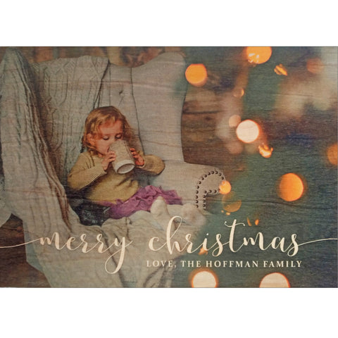 merry christmas photo card on wood veneer