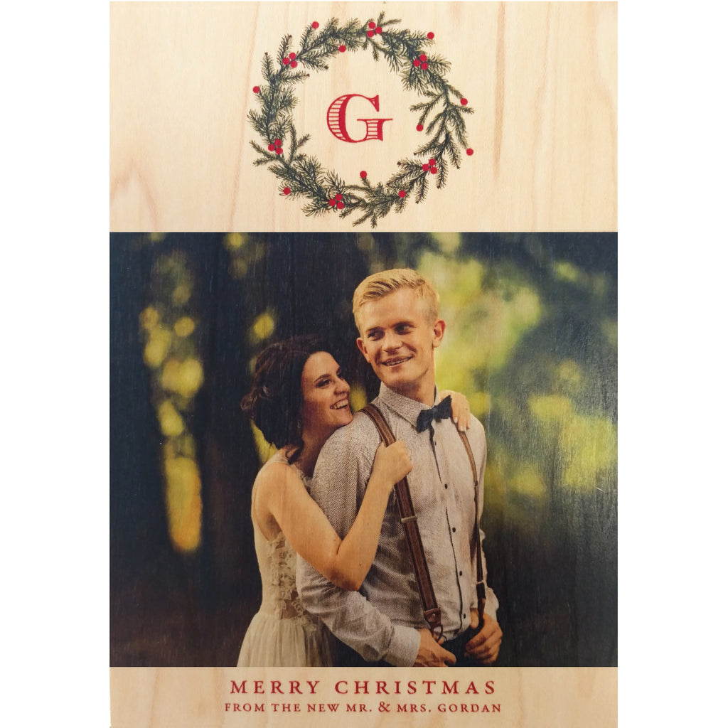 Monogram Wreath Photo Card on Real Wood Veneer - Idea Chíc