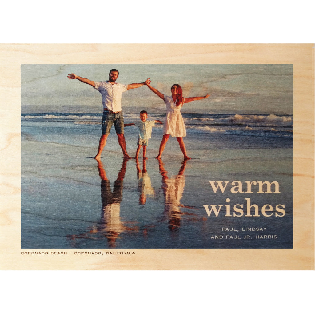 Warm Wishes Photo Card on Real Wood Veneer - Idea Chíc