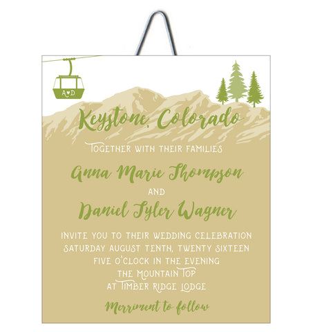 Mountain Top Lift Ticket Colorado Wedding Invitation