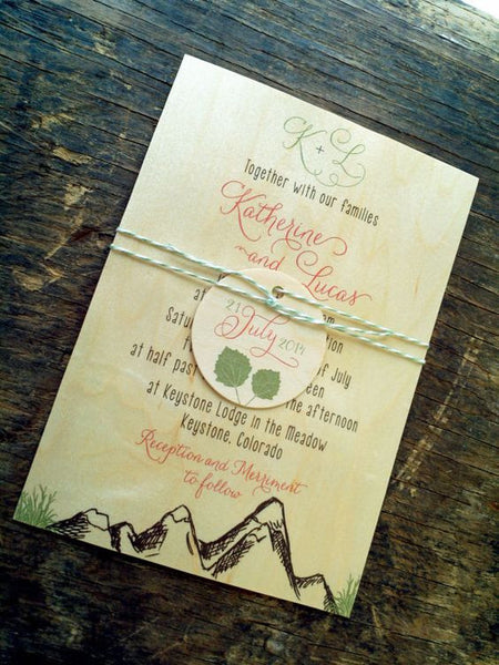 Mountain Alpine Trees and Aspen Leaves Wedding Invitation Collection on Wood Veneer - IdeaChic  - 2