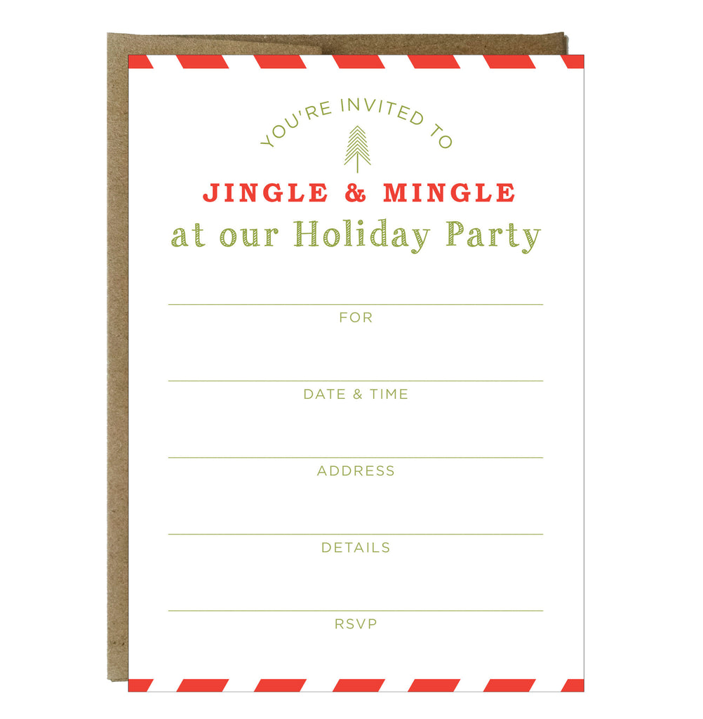 Jingle And Mingle Fill In Invitations 10 Pack