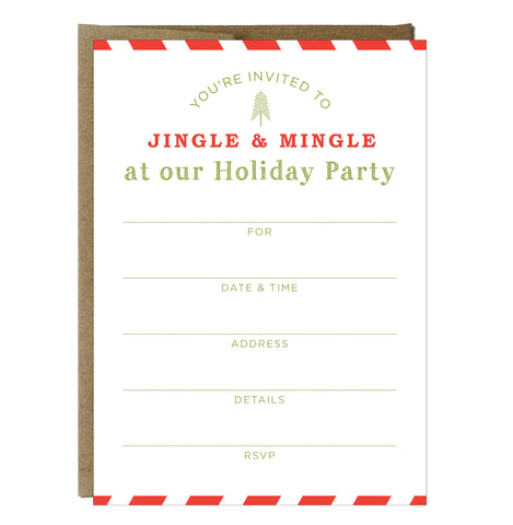 Jingle and Mingle Fill-in Invitations 10 Pack - IdeaChic