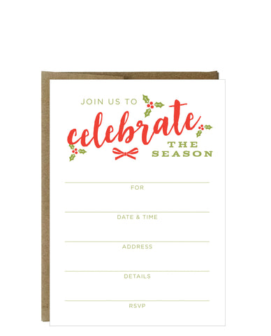 Celebrate the Season Fill-in Invitations 10 Pack - Idea Chíc