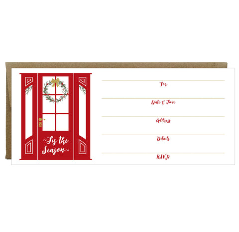 Red Door with Wreath Tis the Season Fill-in Invitations 10 Pack - IdeaChic