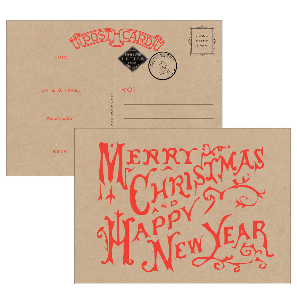 Merry Christmas and Happy New Year Postcard Fill-in Invitations 10 Pack - Idea Chíc