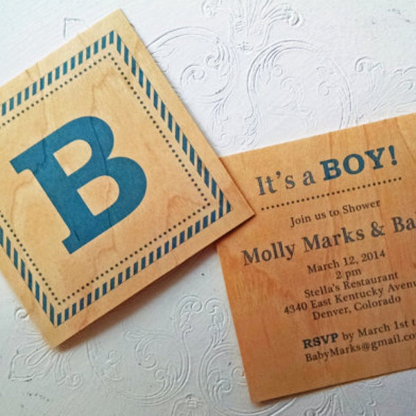 Wood Block Printed Shower Invitation - Boy or Girl - Idea Chíc