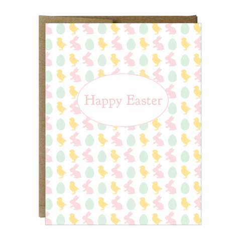 Chick, Bunny and Egg Easter Greeting Card - Idea Chíc