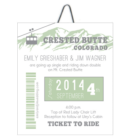 Alpine Gondola Ski Pass Colorado Wedding Invitation - IdeaChic  - 1