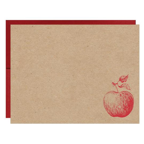 Red Apple Letterpress on Natural Recycled Chipboard Card - Idea Chíc